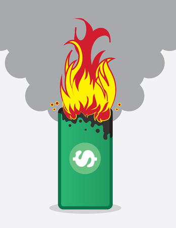 Paper money bill on fire Vector