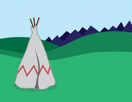 Tepee standing in outdoor landscape Vector