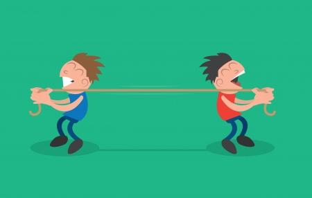 Twee mensen touw trekken in tegengestelde richtingen