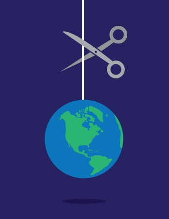 dominate: Earth on a string string about to be cut by scissors
