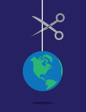 ciach: Ziemia na łańcucha łańcuch, który ma być cięte nożyczkami