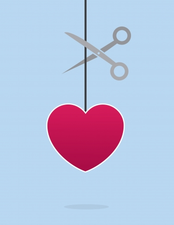 betray: Heart on a string about to be cut with scissors Illustration