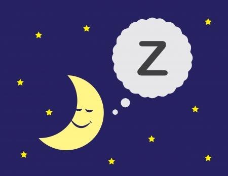 Lune de bande dessinée avec la pensée de couchage bulle Banque d'images - 24530839