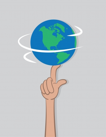 spinning: Planet earth spinning on a single finger