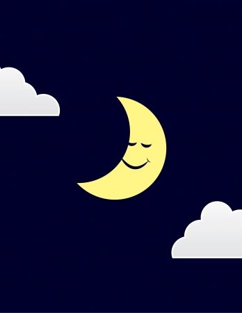 Moon character sleeping with clouds Çizim