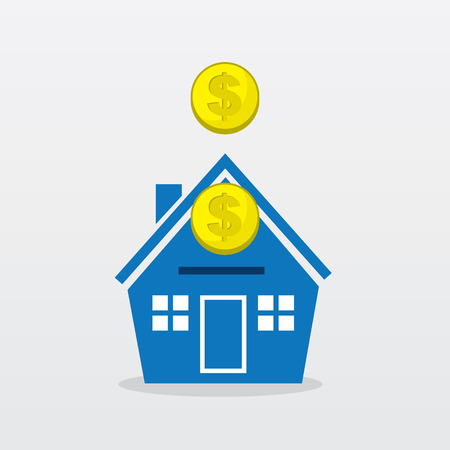 Gold coins falling into house Illustration