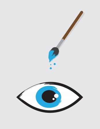 Eye painted by floating paintbrush Vector