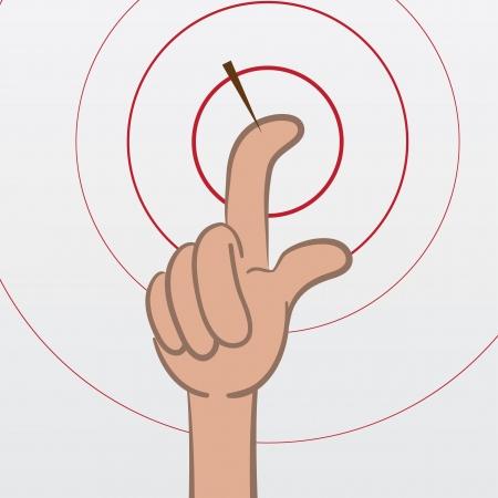 Vinger met splinter pulserende rode ringen Stock Illustratie