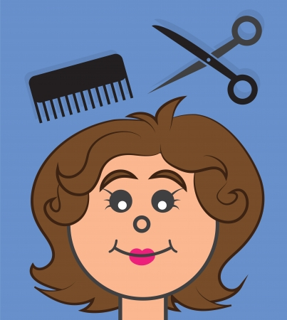 Woman getting a haircut with floating scissors and brush