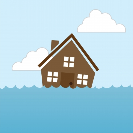 House floating in water flood Vector