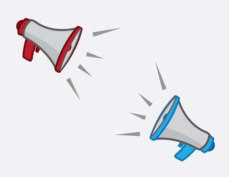 arguments: Megaphones exclaiming opposite one another
