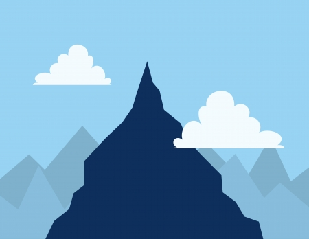 hiking trail: Mountain top in the clouds