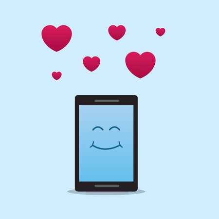 a pink cell: Phone character with floating hearts from above Illustration
