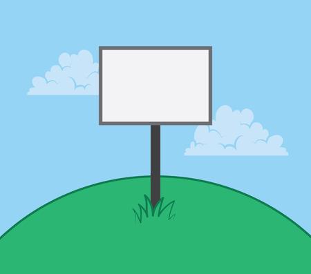 Blank sign on top of a large hill Ilustração