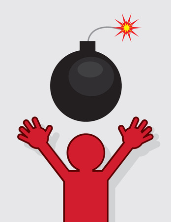 threat of violence: Red silhouette figure running from lit bomb Illustration