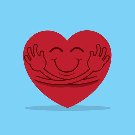 Large cartoon heart hugging itself Vectores