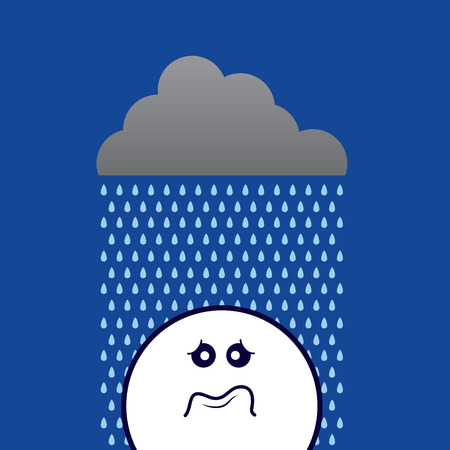 Cloud raining on a sad face Vector
