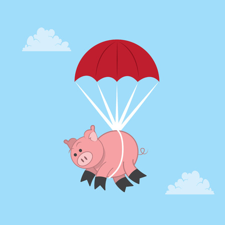Pig parachuting down from the sky