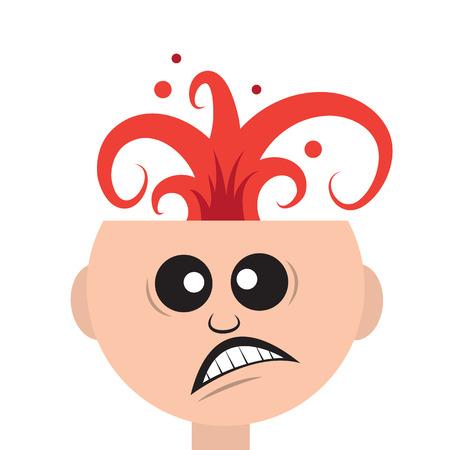 Isolated man s head exploding like a volcano Illustration