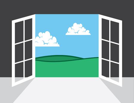 open window: Open window or door leading to outside Illustration