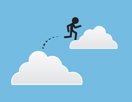 puffy: Figure jumping from one cloud to another Illustration