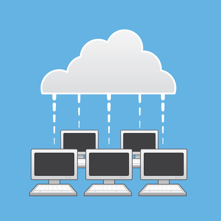 synchronization: Multiple computers connected to the cloud Illustration