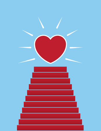 Steps up to large shining heart