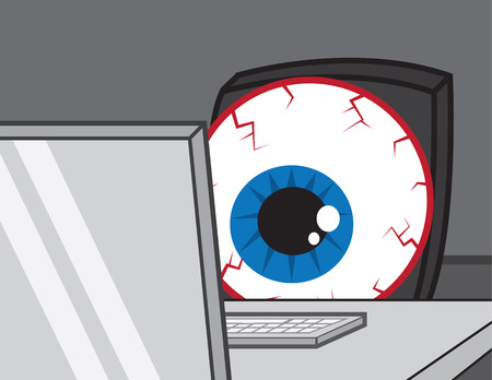 big eye: Large bloodshot eye staring at computer