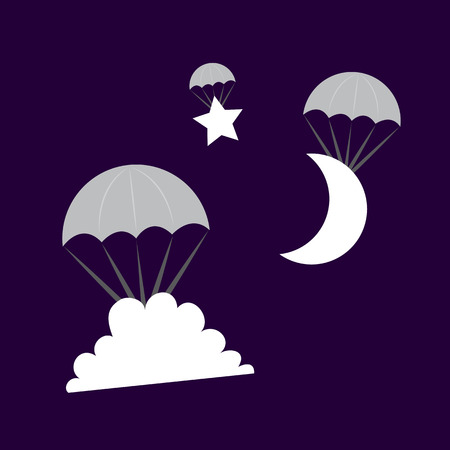 Cloud Moon and Star symbols parachuting from the sky Vector