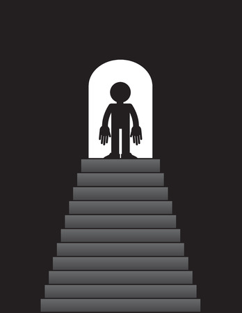 Steps leading up to figure standing in doorway Stock Vector - 26057642
