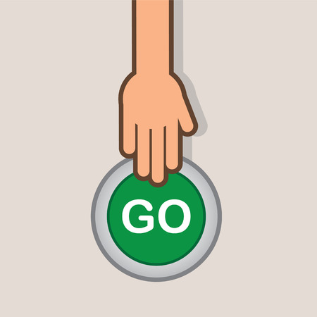 Go button about to be pressed by hand Illustration