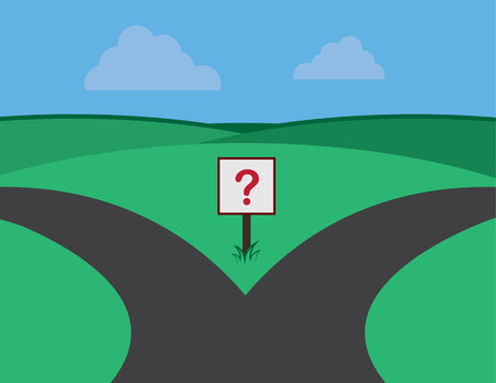 green road: Road split with question marked sign  Illustration