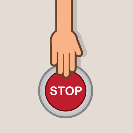 pressed: Stop button about to be pressed by hand