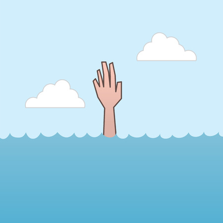 hand drown: Drowning and reaching out hand for help