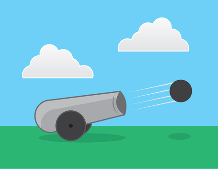 Cannon shot outside in a field Vector