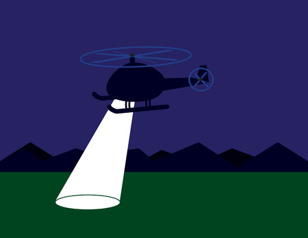 criminal: Helicopter searching at night with spotlight