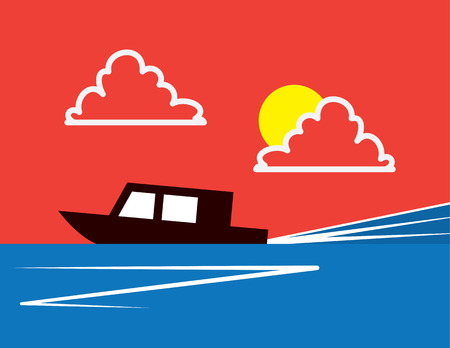 Stylized silhouetted boat racing across the water