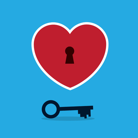 secret love: Heart with keyhole and key Illustration