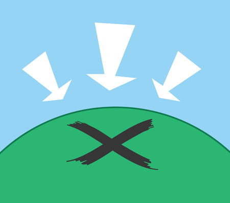 X marking the spot on a hill