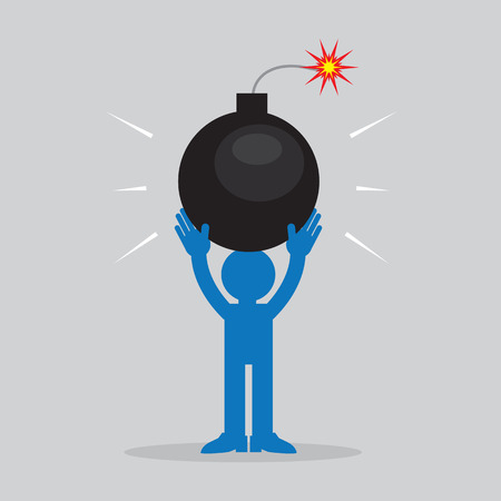threat: Figure holding large lit bomb