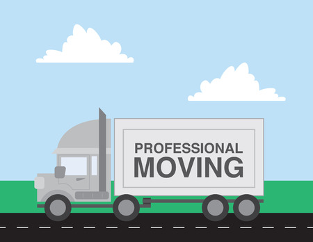 moving down: Professional moving truck driving down the road