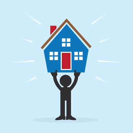 Figure holding up house above head Vector