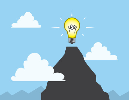 emit: Light bulb at the top of a mountain Illustration
