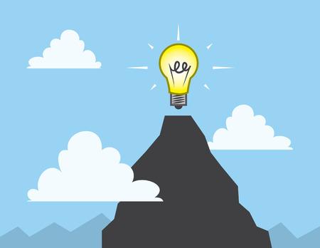 Light bulb at the top of a mountain Ilustração