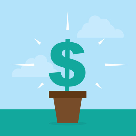 fortune flower: Flower pot with dollar sign growing