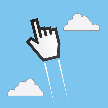 soaring: Digital pointer hand soaring up through the sky