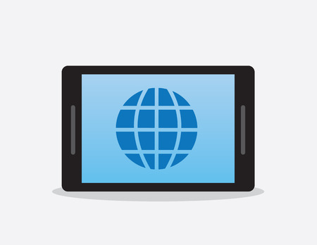 Phone or tablet with globe internet symbol