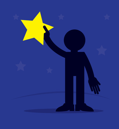 Figure silhouette reaching out and grabbing star