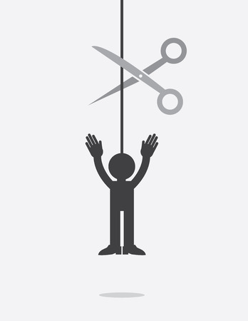 Figure hanging from a string about to be cut by scissors