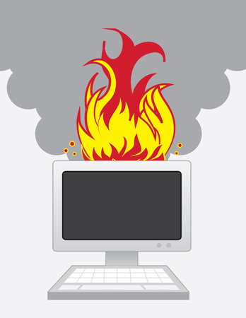 Desktop computer on fire with smoke Vector